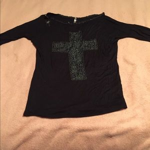 Black stylish Shirt with Cross design